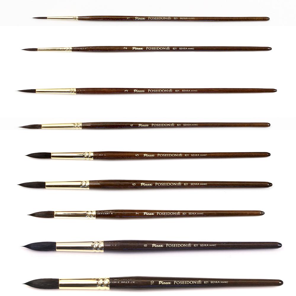 Купить Кисть белка микс круглая Pinax Poseidon 821 короткая ручка, Китай