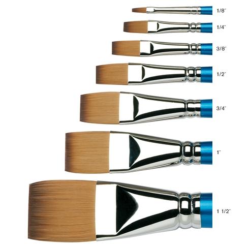 Купить Кисть синтетика №1 плоская Winsor&Newton COTMAN 666 длинная ручка, Winsor & Newton
