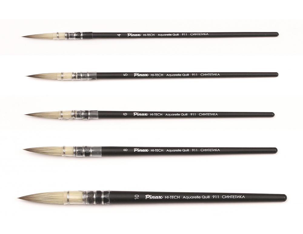 Купить Кисть синтетика круглая Pinax HI-TECH Aquarelle Quill 911 короткая ручка, Китай