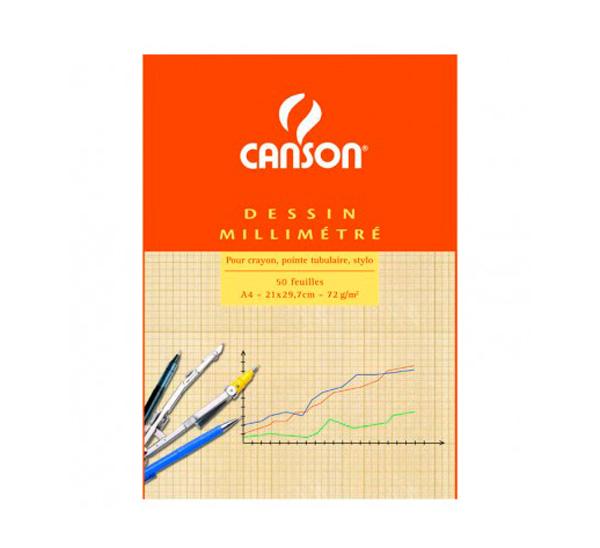 Купить Бумага миллиметровка Canson А4 90 г склейка, Франция