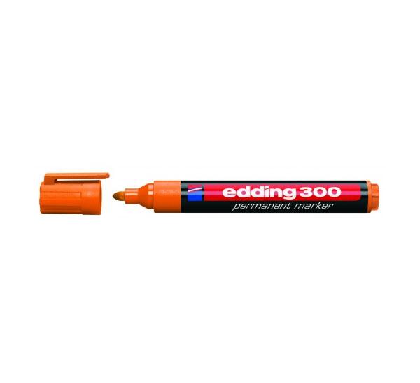 Купить Маркер перманентный Edding 300 1, 5-3 мм с круглым наконечником, оранжевый, Германия