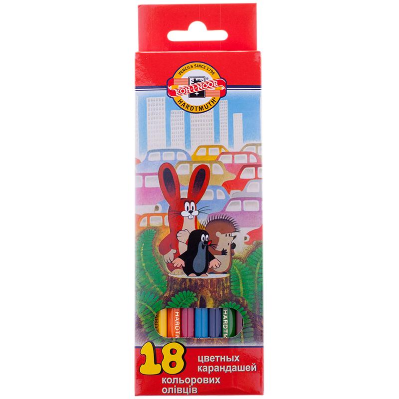 Купить Набор карандашей цветных Koh-I-Noor Крот 18 шт в картоне, KOH–I–NOOR, Чехия
