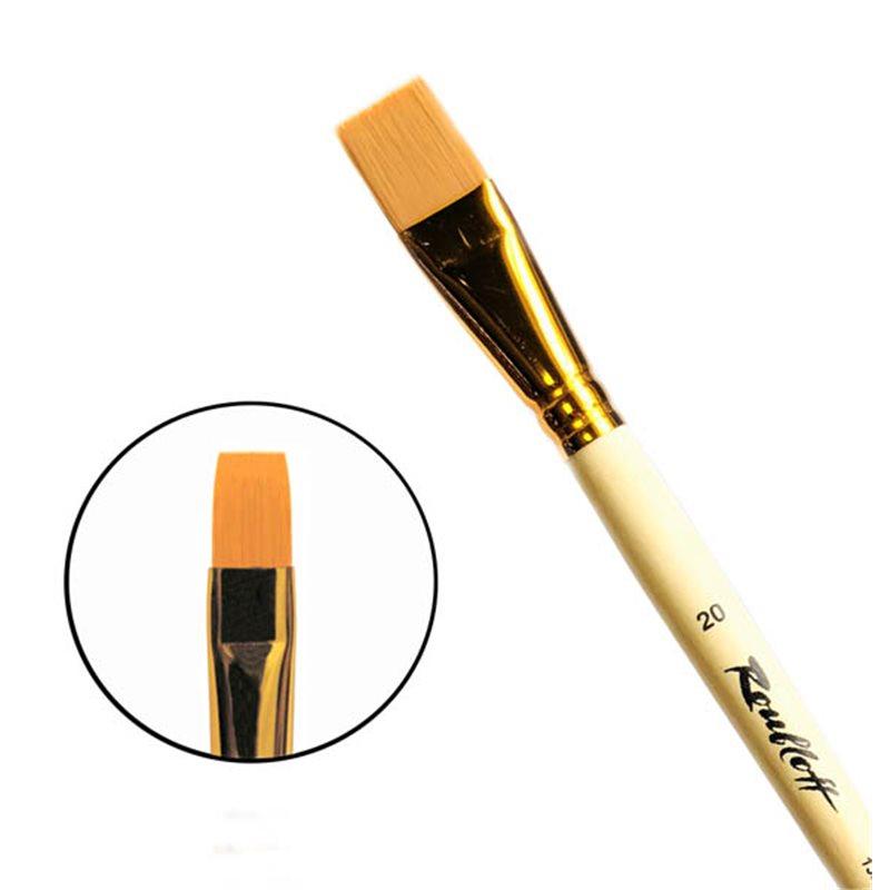 Купить Кисть синтетика №20 плоская Roubloff 1322 длинная ручка п/лак, Россия