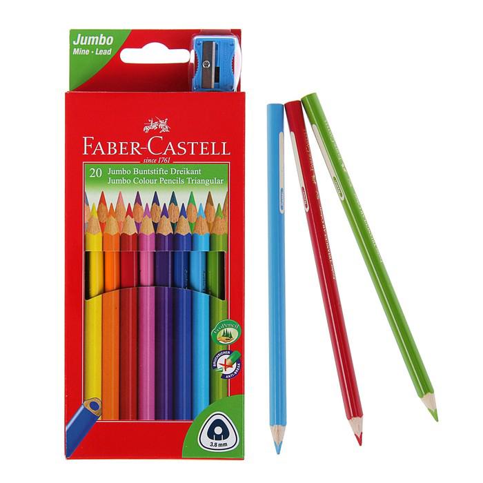 Купить Цветные карандаши Jumbo с точилкой, набор цветов, в картонной коробке, 20 шт, Faber–Сastell, Германия