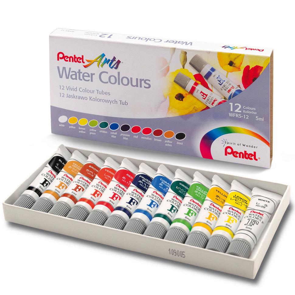 Набор акварельных красок Pentel Water Colours 12 цветов.