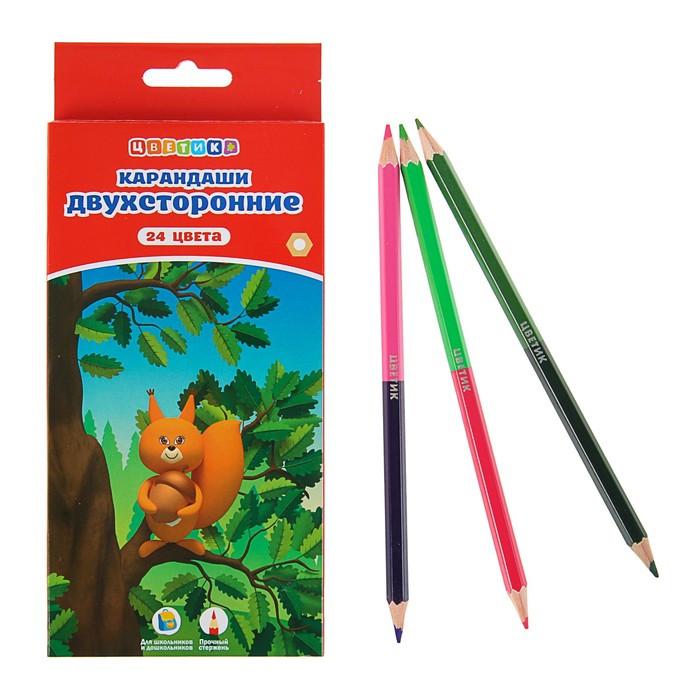 Купить Набор карандашей цветных Цветик двухсторонние 12 шт 24 цв, Россия