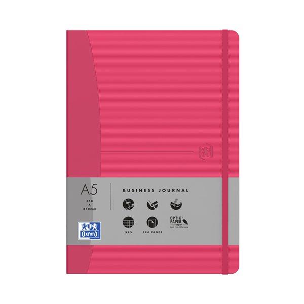 Купить Блокнот в клетку OXFORD OFFICE SIGNATURE A5 72л фикс.резинка карман твердая обложка рубиново-красный, Франция
