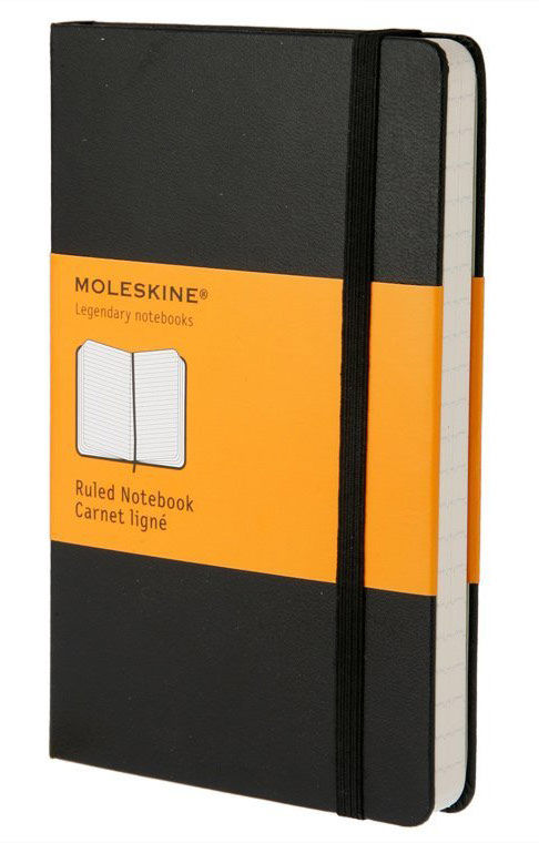 Записная книжка в линейку Moleskine Classic Large обложка черная.