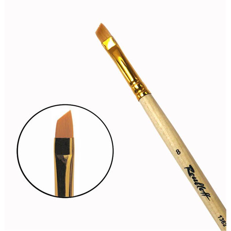 Купить Кисть синтетика №8 скошенная Roubloff 1362 длинная ручка п/лак, Россия
