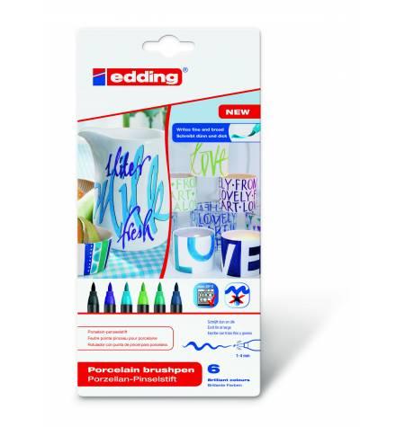 Купить Набор фломастеров для керамики Edding 6 шт 1-4 мм холодных оттенков, Германия