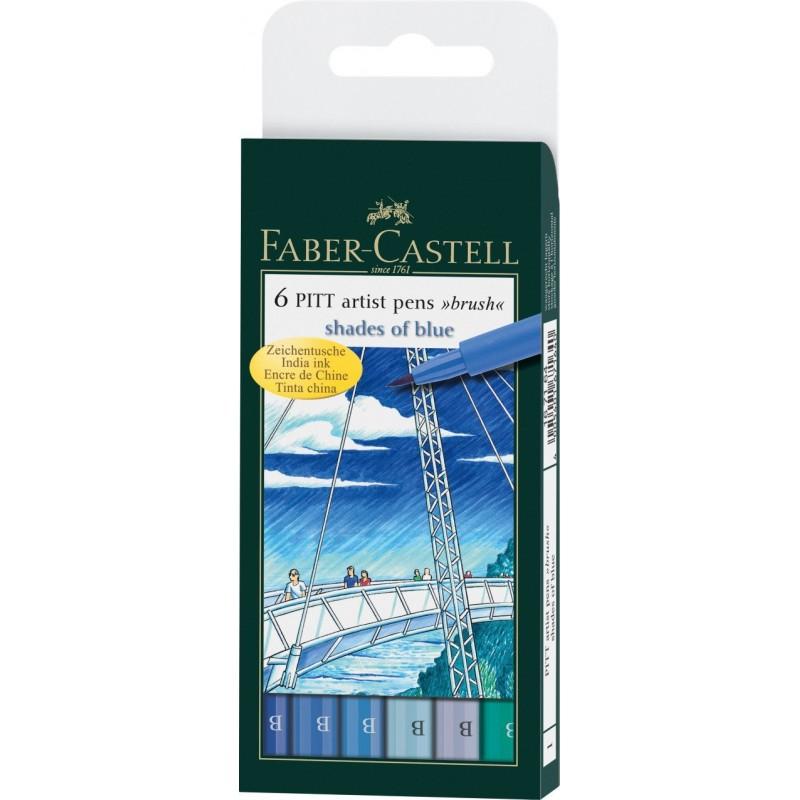Купить Набор маркеров профессиональных Faber-castell Pitt artist pen 6 цв (синие оттенки), Faber–Сastell, Германия