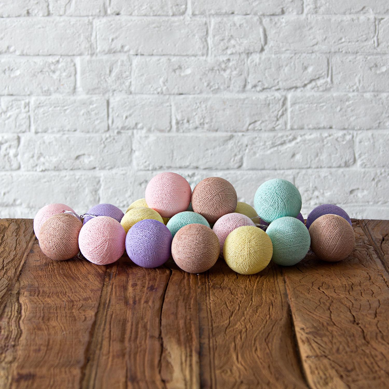 Купить Гирлянда из хлопковых шариков Lares & Penates карамель 20, от батареек, Lares & Penates