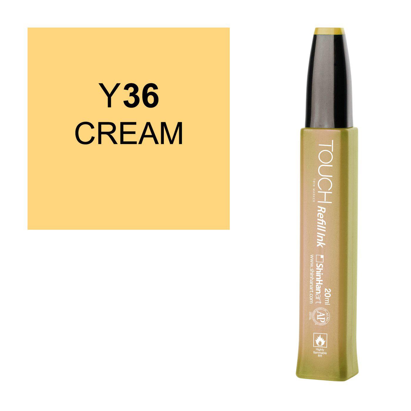 Купить Заправка для маркеров Touch Refill Ink 20 мл Y36 Кремовый, ShinHan Art (Touch), Южная Корея