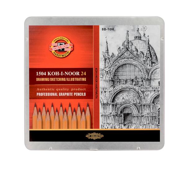 Купить Набор карандашей чернографитных Koh-I-Noor Art 24 шт (8В-10Н) в металл коробке, KOH–I–NOOR, Чехия