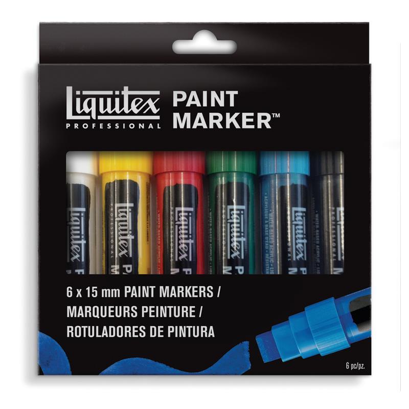 Купить Набор акриловых маркеров Liquitex Paint marker Wide 6 цв*15 мм, США