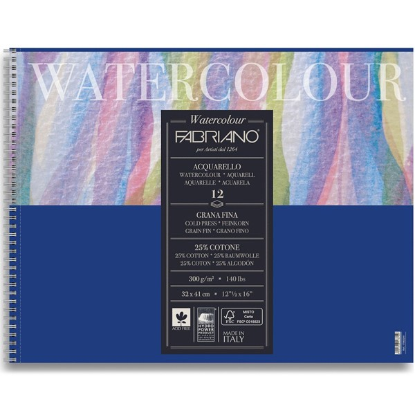 Альбом на спирали для акварели Fabriano Watercolour 32х41 см 12 л 300 г 25% хлопок.