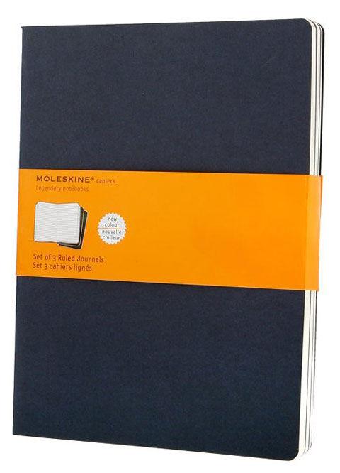 Записная книжка в линейку Moleskine Cahier Journal XLarge 190х250 мм 120 стр синий индиго (3шт).
