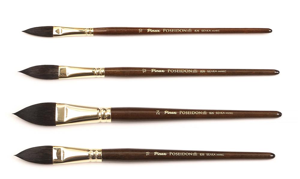Купить Кисть белка микс овальная язык Pinax Poseidon 826 короткая ручка, Китай