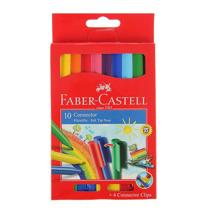Набор фломастеров Faber-castell Connector 10 цв с клипом в картоне, Faber–Сastell, Германия  - купить со скидкой