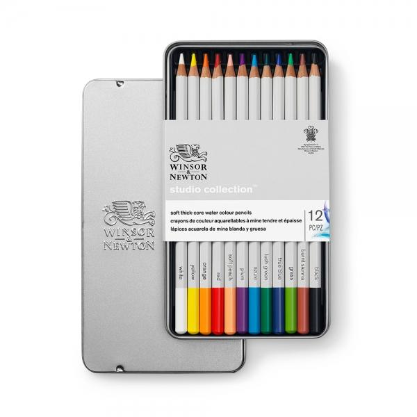 Набор карандашей акварельных Winsor & Newton 12 цветов, в металлической коробке