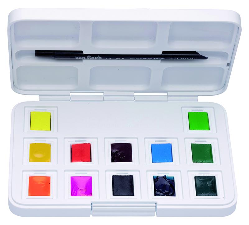Купить Набор акварели Talens Van Gogh Vibrant Colours (яркие цвета) 12 кювет + кисть, пластиковая уп, Royal Talens