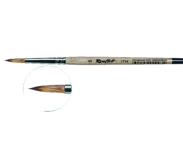 Купить Кисть синтетика мангуст имитация №10 круглая Roubloff 1Т14 короткая ручка, Россия