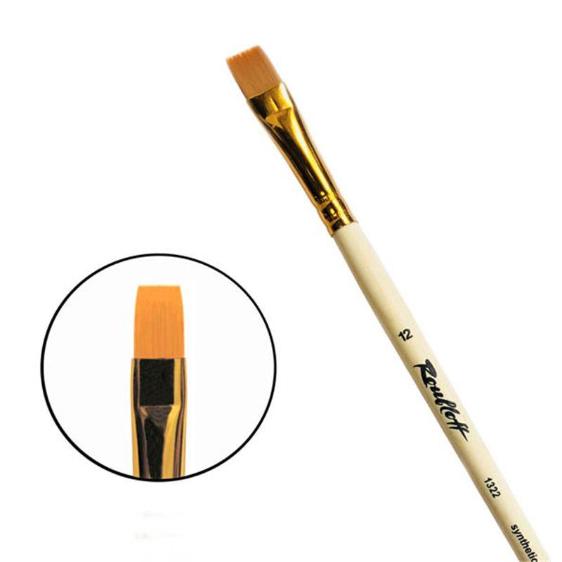 Купить Кисть синтетика №12 плоская Roubloff 1322 длинная ручка п/лак, Россия