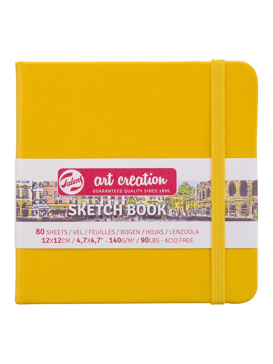 Купить Блокнот для зарисовок Art Creation 12х12 см 80 л 140 г, твердая обложка, желтый, Royal Talens
