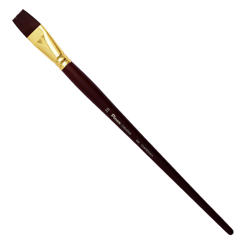 Купить Кисть синтетика №20 плоская Pinax Creative 684 жесткая, длинная ручка, Китай
