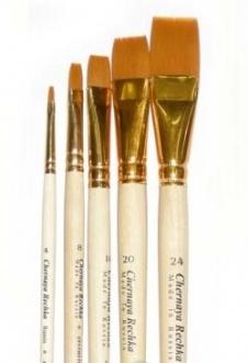 Купить Кисть синтетика №16 плоская Живописные кисти 1322 длинная ручка п/лак, Россия