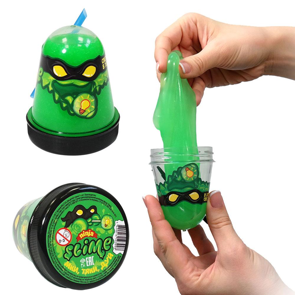 Купить Игрушка Slime Ninja, светится в темноте, зеленый, 130 гр, Волшебный мир, Россия