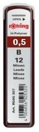 Купить Набор грифелей для механического карандаша Rotring TIKKY 12 шт 0, 5 мм, B, Германия