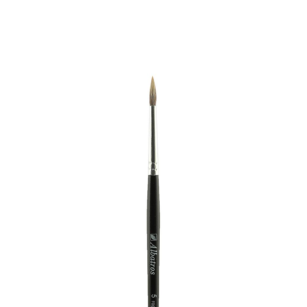 Купить Кисть горный колонок №5 круглая Альбатрос, короткая ручка, Россия