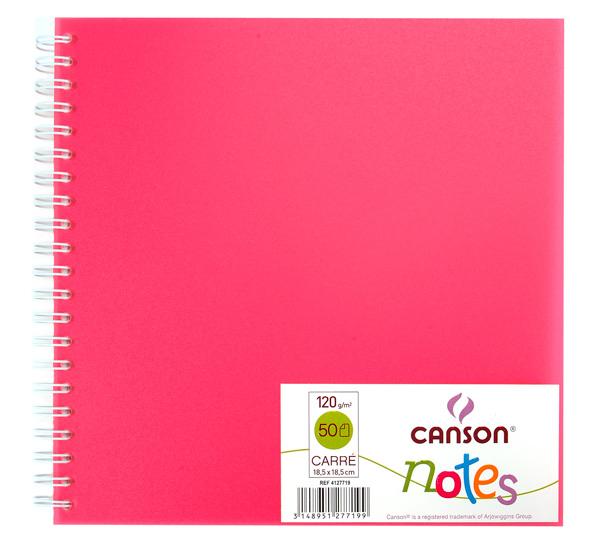 Купить Блокнот для графики на спирали Canson Notes 18, 5х18, 5 см 50 л 120 г, обложка пластик. розовая, Франция