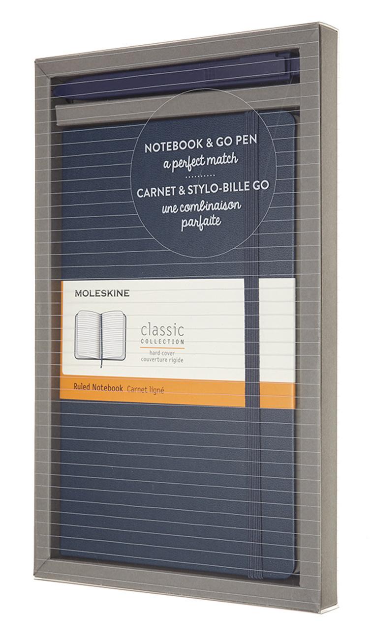 Купить Набор блокнот/ручка Moleskine Go Pen блокнот в линейку Classic, синий, Китай