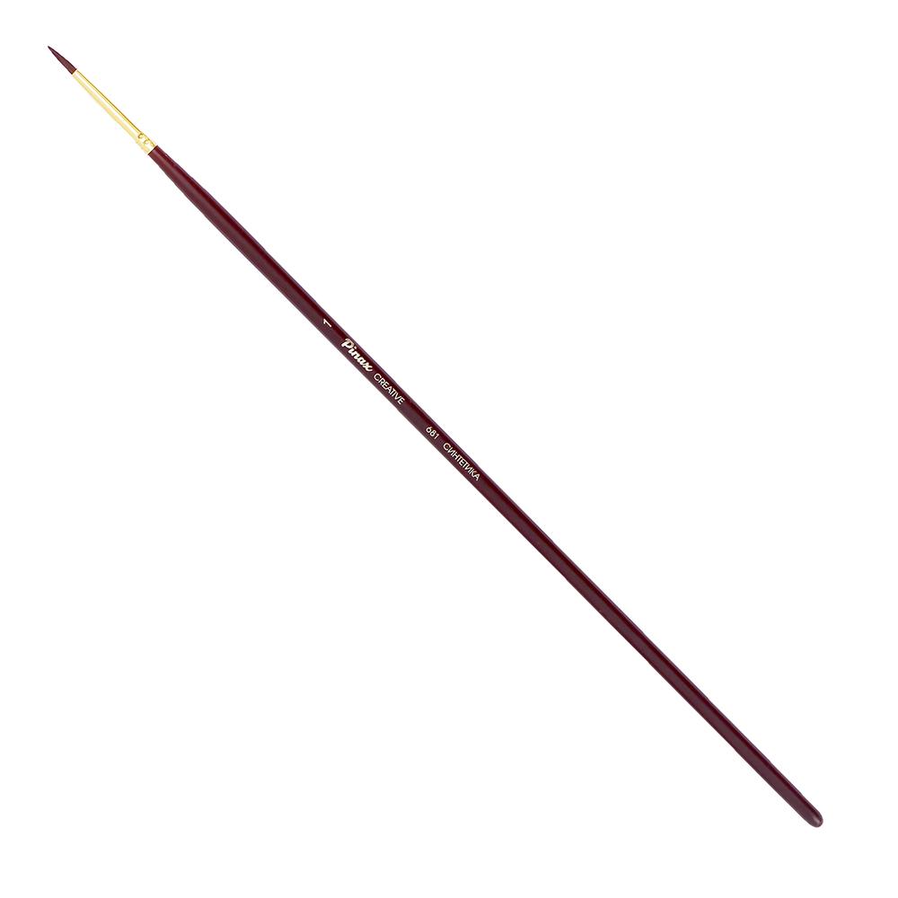 Купить Кисть синтетика №1 круглая Pinax Creative 681 жесткая, длинная ручка, Китай