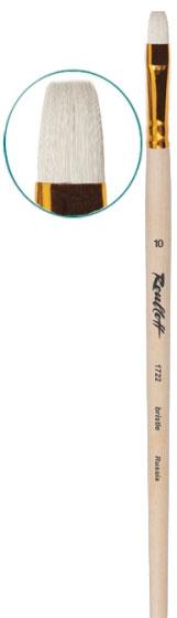 Купить Кисть щетина №10 плоская Roubloff 1722 длинная ручка п/лак, Россия