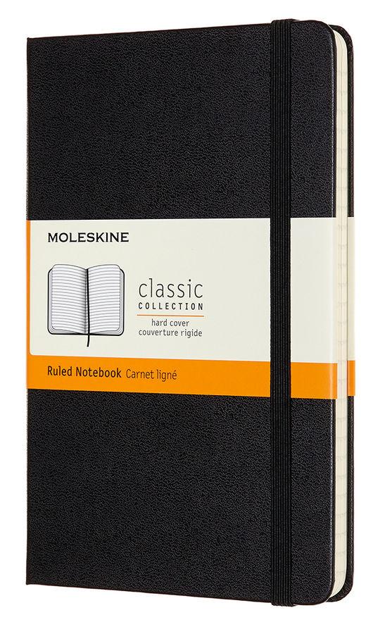 Записная книжка в линейку Moleskine Classic Medium 115х18 см 240 стр твердая обложка черная.