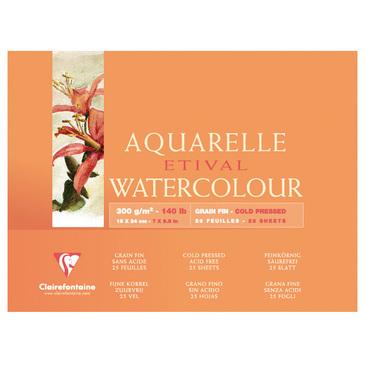 Купить Альбом-склейка для акварели Clairefontaine Etival Fin 18х24 см 25 л 300 г 100% целлюлоза, Франция