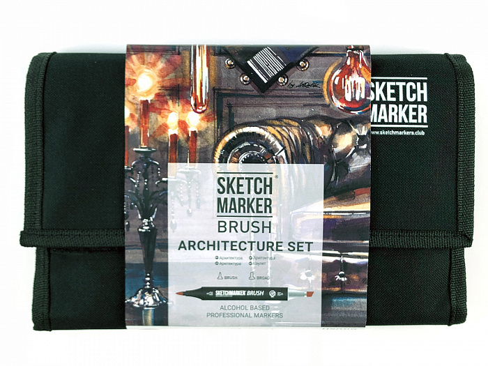 Набор маркеров Sketchmarker Brush 24 Architecture Set- Архитектура (24 маркеров+сумка органайзер) фото
