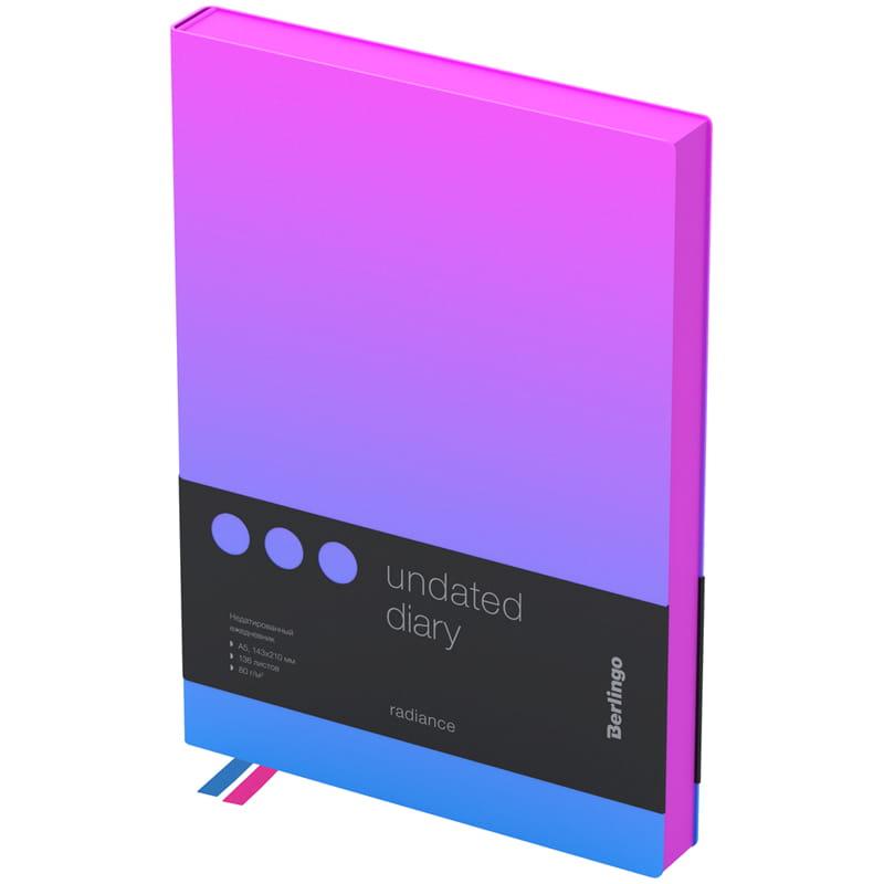 Купить Ежедневник недатированный Berlingo Radiance A5 136 л, кожзам, розовый/голубой градиент, Россия