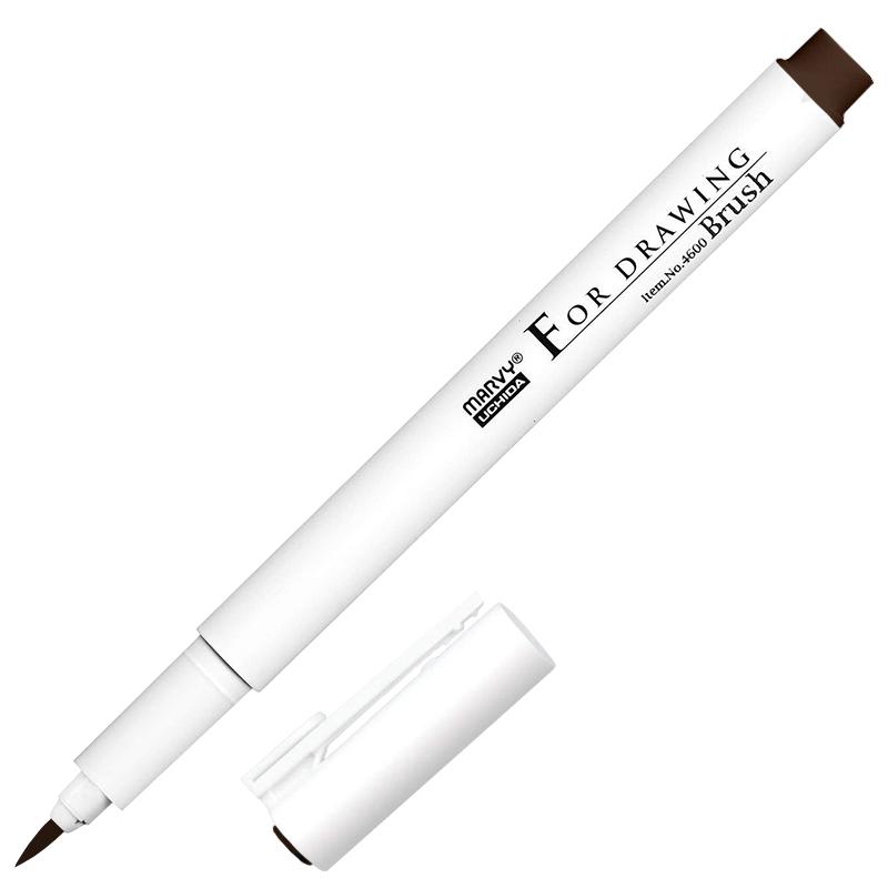 Купить Ручка для черчения и рисования Marvy DARK BROWN Brush, Япония