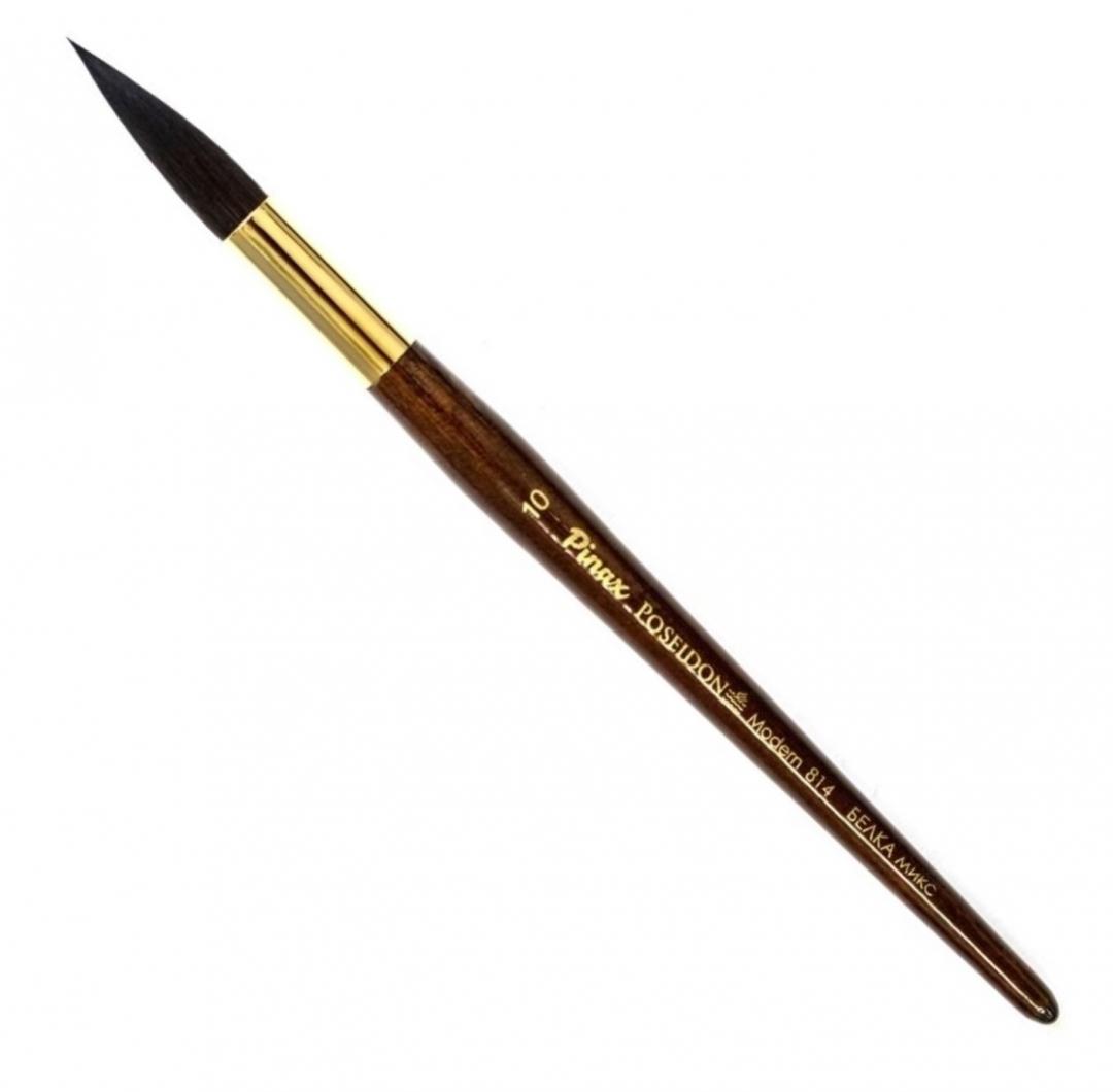 Купить Кисть белка микс №10 круглая Pinax Poseidon 814 короткая ручка, Китай