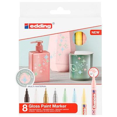 Купить Набор маркеров декоративных, лаковых Edding 8 шт, 1-2 мм Пастельные цвета, Германия