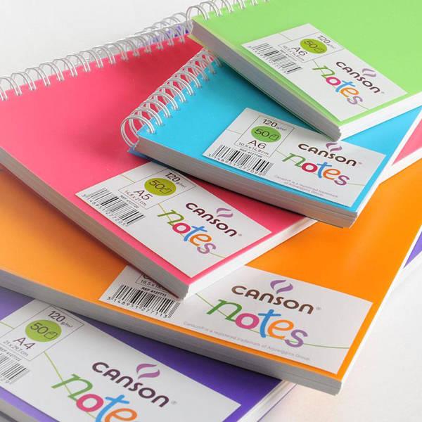Купить Блокнот для графики на спирали Canson Notes 50 л 120 г, форматы А5 и 18, 5х18, 5 см., обложка пластик. розовая, Франция