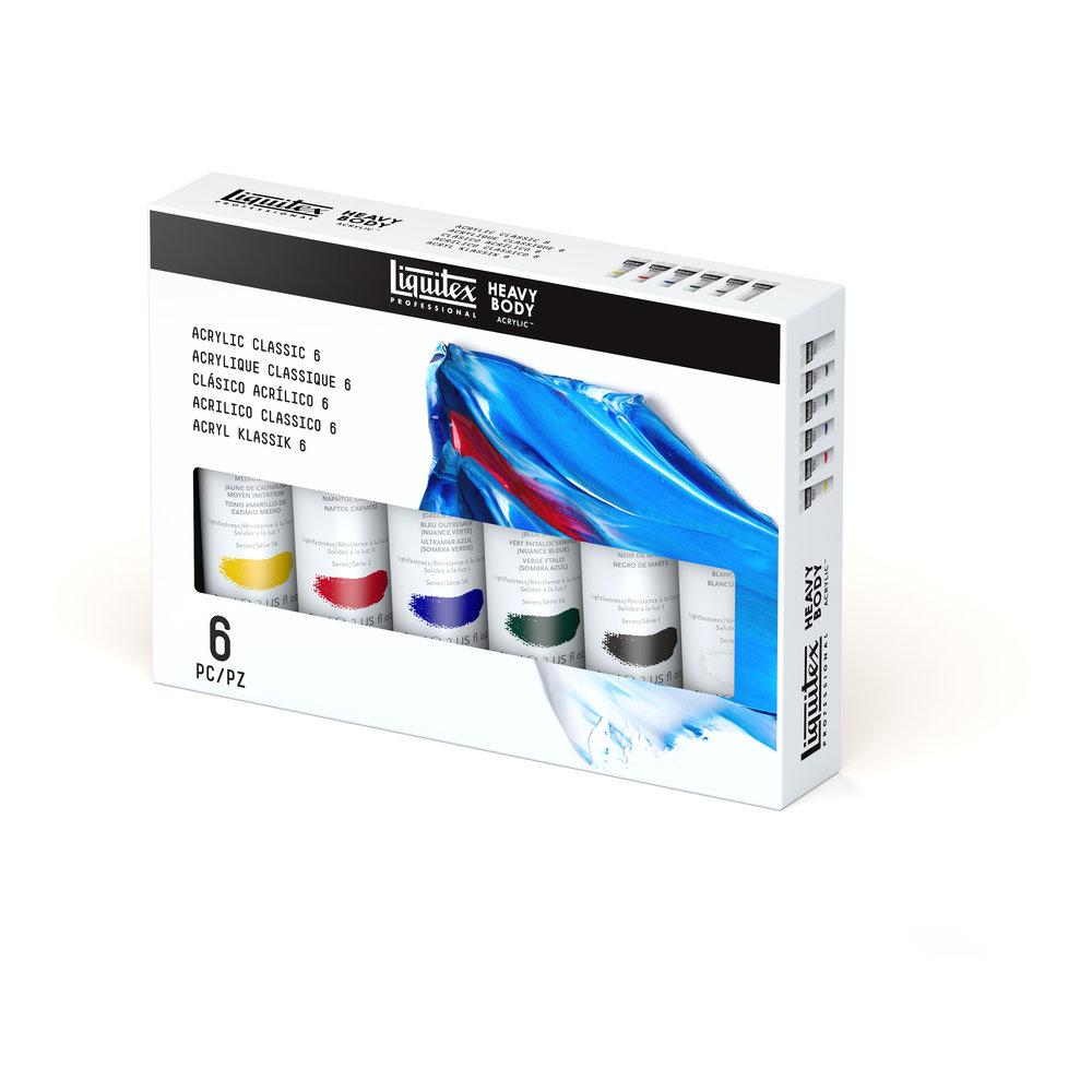 Купить Набор акрила Liquitex Acrylic classic Heavy Body 6 цв*59 мл, США