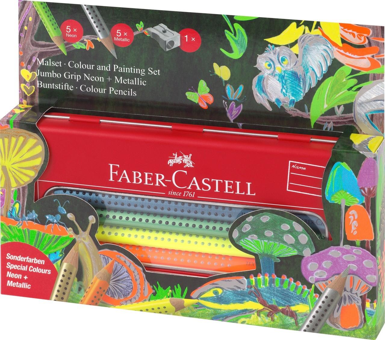 Набор цветных карандашей Jumbo Grip, неоновые и металлические цвета, 10 шт., в металлической коробке