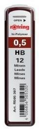 """Набор грифелей для механического карандаша Rotring """"TIKKY"""" 12 шт 0,5 мм, HB"""