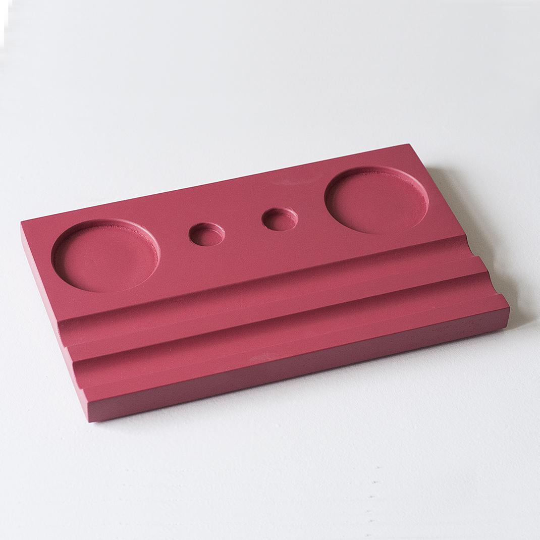 Подставка для чернильницы-непроливайки двойная, цвет красный
