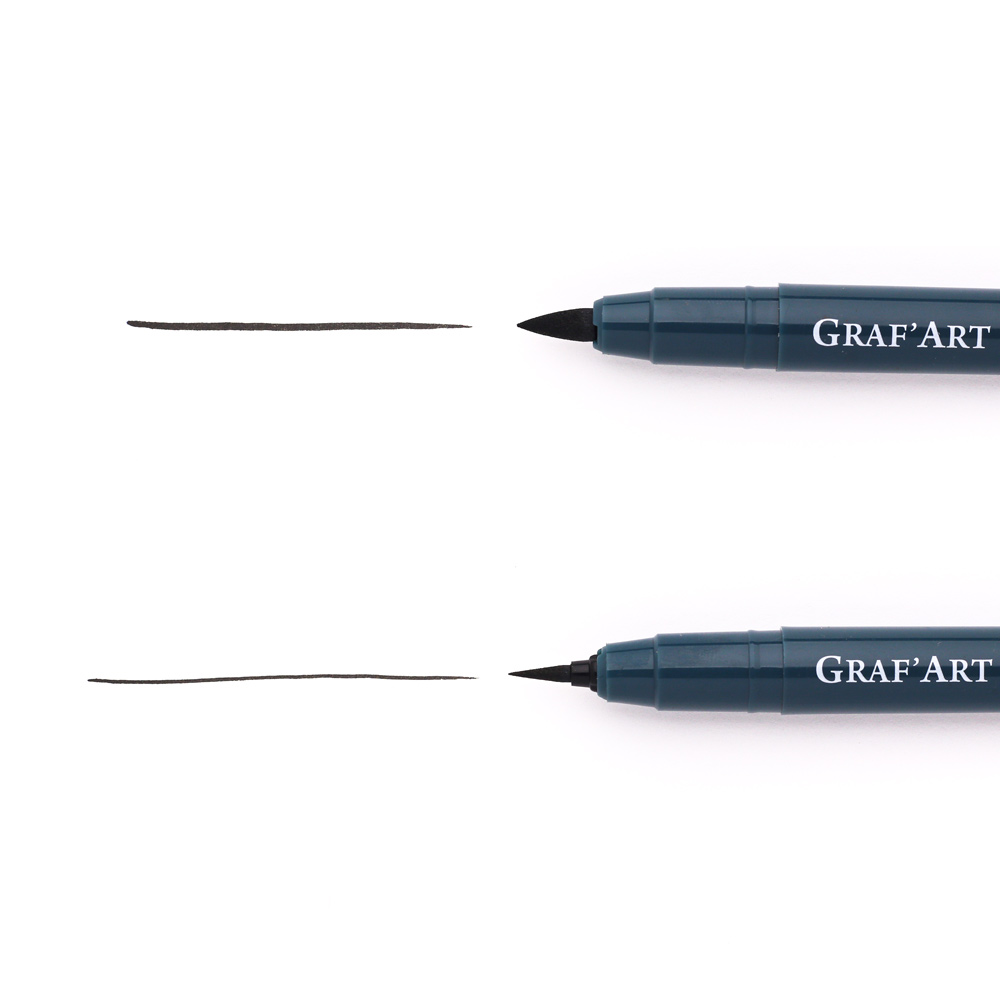 Ручка капиллярная Малевичъ Graf'Art кисть, разная толщина наконечника, Россия  - купить со скидкой